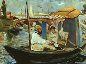 Claude Monet in his Studio Boat. Painting by Eduoard Manet 1874