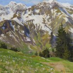 Crocuses at the mountains Hochberg. Oil on canvas. Painting by Russian artist Viktoria Kharchenko
