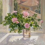Dog rose. Oil on canvas. Painting by Kaluga based artist Viktoria Kharchenko