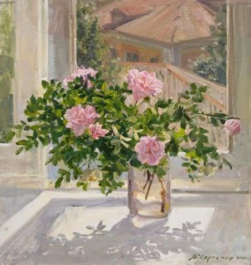 Dog rose. Oil on canvas. Painting by Kaluga based artist Viktoria Kharchenko