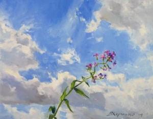 Flower and sky. Oil on canvas. Painting by Kaluga based artist Viktoria Kharchenko
