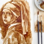 Coffee painting by Greek artist Maria Aristidou
