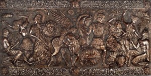 Panel HELLAS. 1978. Aluminum, copper, blackening, patinated