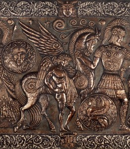 HELLAS mythological panel. 1978. Aluminum, copper, blackening, patinated (central part)
