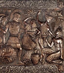 mythological panel HELLAS. 1978. Aluminum, copper, blackening, patinated (right part)