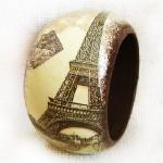 History of Paris. Maya Valit. Handmade bracelet in the decoupage technique