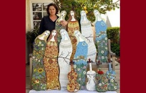 The artist with her creations. Decorative Mosaics by Irina Charny