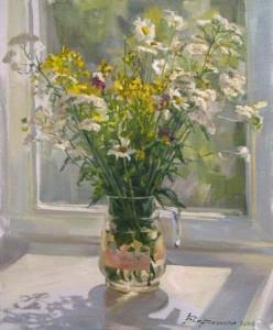 July flowers. Painting by Kaluga based artist Viktoria Kharchenko