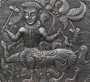 Kitovras panel. (From the series 'Russian antiquity'). 2011. Aluminum, blackening