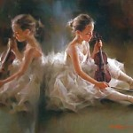 Violin player. Moments of Ballet. Work by Chinese painter Stephen Pan