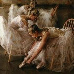 Preparing for the performance. Moments of Ballet. Painting by Chinese born American artist Stephen Pan