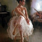 Sitting on a chair. Moments of Ballet. Work by Chinese painter Stephen Pan