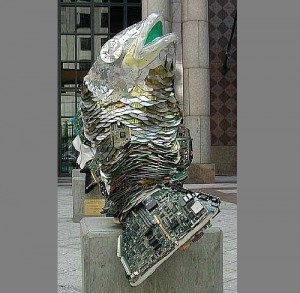 Monument to Fish, made of CDs and computer parts