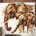 Mother and baby elephant. Coffee illustration by Maria Aristidou