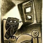 OWL on a chair, ocher backdrop. 1947