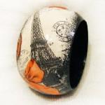 Paris, Paris…. Handmade bracelet in the decoupage technique. Work by Maya Valit