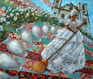 Brushing the yard. Patchwork art by Brazilian artist Sandra Regina de Paula Freitas