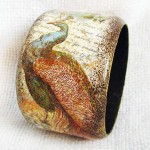 Peacock. Handmade bracelet in the decoupage technique. Work by Moscow based artist Maya Valit