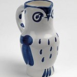 Blue owl, vase, ceramics