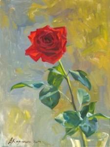 Rose on autumn window. Oil on canvas. Painting by Kaluga based artist Viktoria Kharchenko