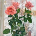 Snowy roses. Oil on canvas. Painting by Kaluga based artist Viktoria Kharchenko