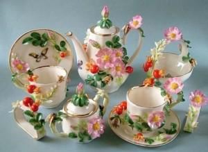 Exquisite Porcelain tea set. Handmade art by Svetlana Oreshkina
