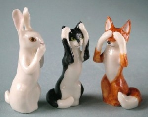 A hare, a cat and a fox. Porcelain by Svetlana Oreshkina