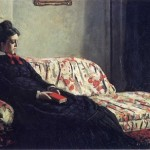 Thinking Madame Monet on the sofa 1871