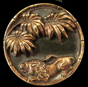 Victorian Picture Button Crouching Lion with palm fronds in background
