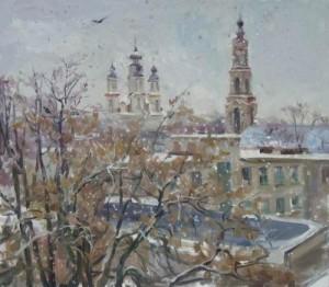 Wet snow. Oil on canvas. Painting by Kaluga based artist Viktoria Kharchenko