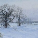 Winter evening. Oil on canvas. Painting by Kaluga based artist Viktoria Kharchenko