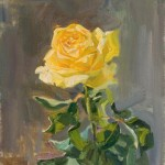 Yellow rose. Painting by Russian artist Viktoria Kharchenko