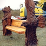 A bear and an eagle bench