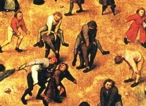Bruegel almost never portrayed smiling faces. Details