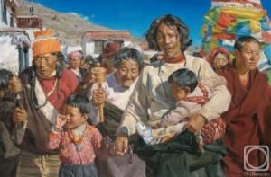 The pilgrims. Painting by Viktoria Kharchenko