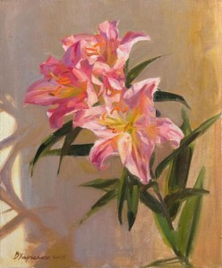 Pink lily. Painting by Kaluga based artist Viktoria Kharchenko