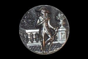 pre-1900 rare French Antique button in silver metal