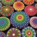 Elspeth McLean painting mandala stones