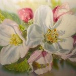 Apple flower. painting on silk