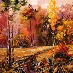 Red and yellow Autumn. Painting by Belarusian artist Alexander Khodyukov
