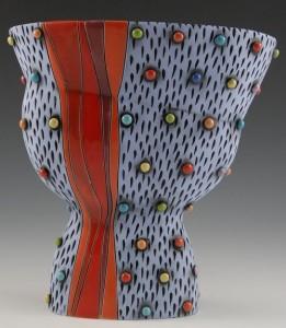 Ceramic Vase with Multicolored Polka Dots