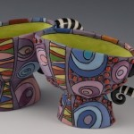 Colorful teacups. Artwork by ceramic artist Natalya Sots