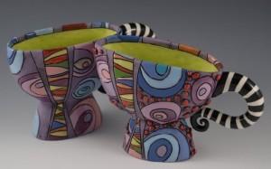 Colorful teacups. Artwork by ceramic artist Natalya Sots