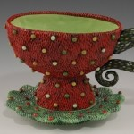 Red tea cup by ceramic artist Natalya Sots