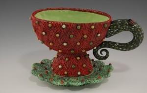 Red tea cup by ceramic artist Natalya Sots
