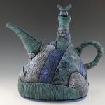 Blue-Turquoise Hand build patchwork teapot