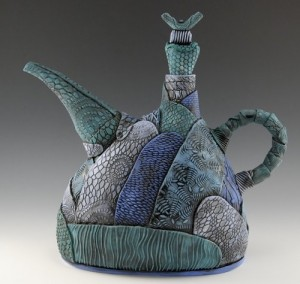 Blue-Turquoise Hand build patchwork teapot