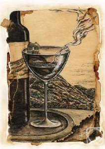 Burnt wine year. Paper, coffee, Tempera and Liners. 2013. Coffee painting by Maria Skorodumova