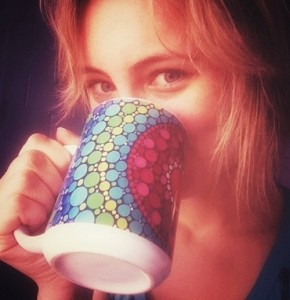 Drinking from painted cup