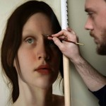 Italian artist Marco Grassi working on his portrait